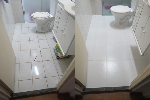 Portf lio casa das reformas reparos e reformas - Pintura para pintar ceramica de piso ...